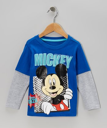 Blue & Gray 'Mickey' Layered Tee - Infant & Toddler