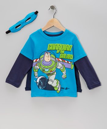 Blue Buzz Lightyear Layered Tee & Eye Mask - Toddler