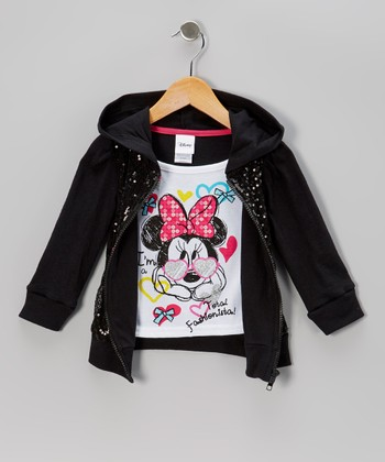 Black Minnie Hooded Top - Toddler