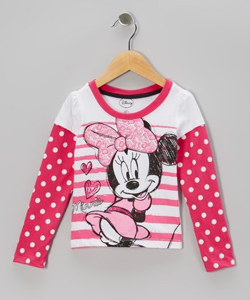 Pink & White Polka Dot Minnie Layered Tee - Toddler