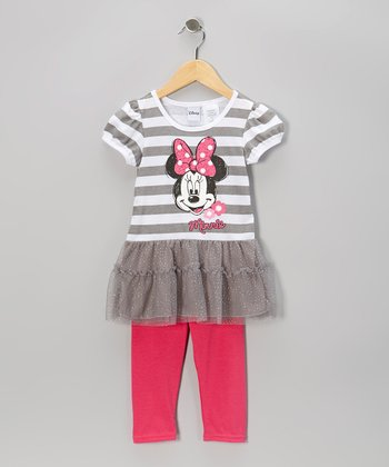 Gray & Pink Stripe Minnie Skirted Top & Leggings - Girls
