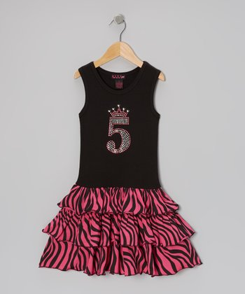 Black & Fuchsia Zebra Birthday Dress - Toddler & Girls