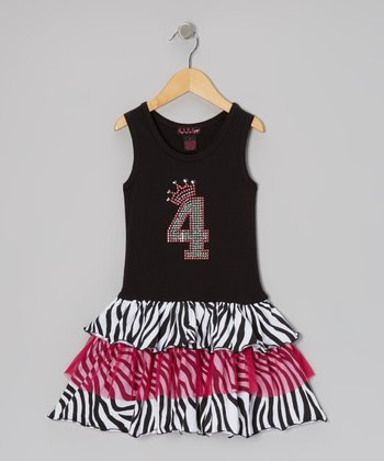 Black & White Zebra Birthday Dress - Toddler & Girls
