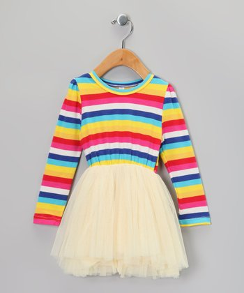Yellow & Blue Stripe Tutu Dress - Infant, Toddler & Girls