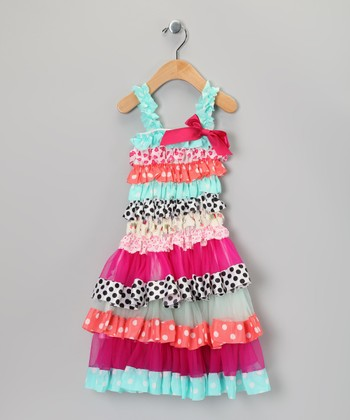 Pink & Blue Polka Dot Ruffle Dress - Infant, Toddler & Girls