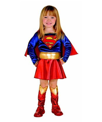 Red & Blue Supergirl Dress-Up Set - Toddler