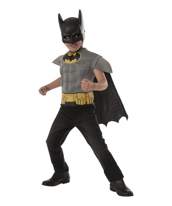 Black & Gray Batman Muscle Dress-Up Set - Boys