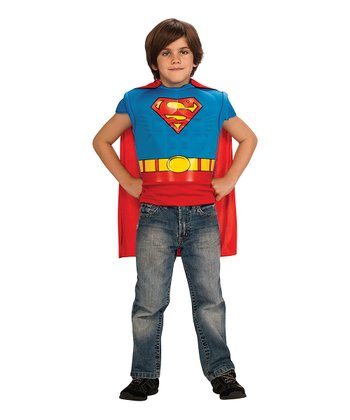 Blue & Red Superman Muscle Tee & Cape - Boys