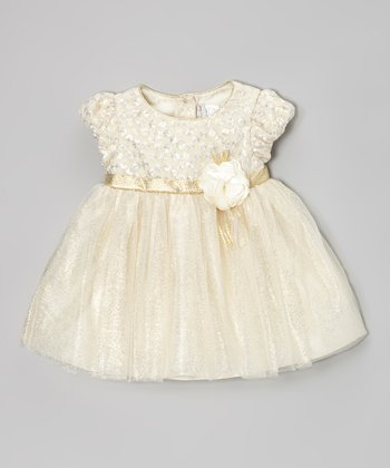 White Ribbon Shimmer Dress - Infant