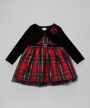 Red & Black Plaid Dress Set - Infant