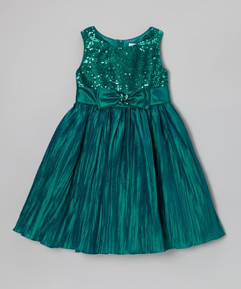 Teal Crinkle Floral Dress - Toddler & Girls