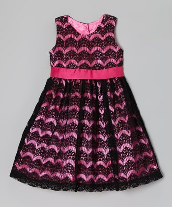 Black & Pink Lace Tea Time Silk-Blend Dress - Toddler & Girls