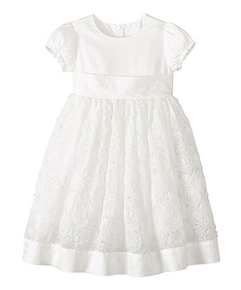 White Rosette A-Line Dress - Infant, Toddler & Girls