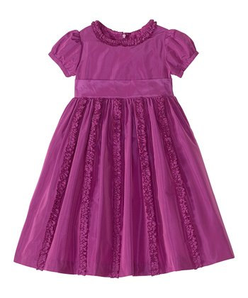 Berry Ruffle Taffeta A-Line Dress - Infant, Toddler & Girls