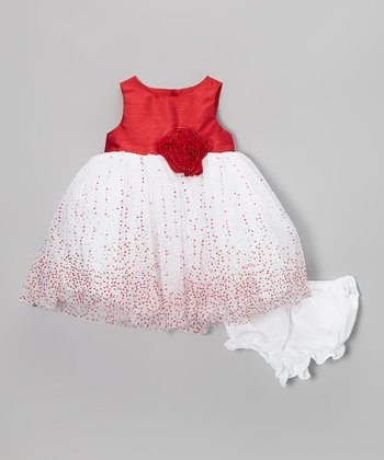 Red & White Rosette Dress & Diaper Cover - Infant