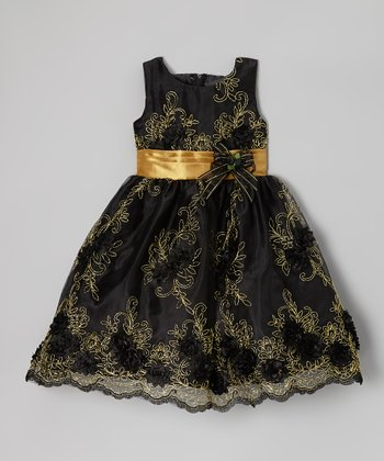 Black & Gold Floral Embroidered Dress - Infant, Toddler & Girls