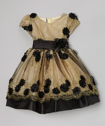 Gold & Black Rose Embroidered Dress - Toddler & Girls