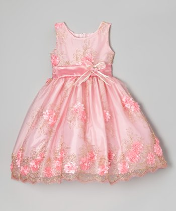 Pink Rose Sheer Embroidered Dress - Infant, Toddler & Girls