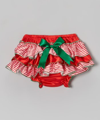 Red & Green Candy Stripe Ruffle Satin Diaper Cover - Infant
