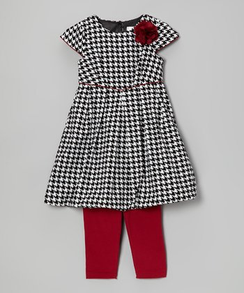 Black Houndstooth Darlah Dress & Red Leggings - Toddler & Girls