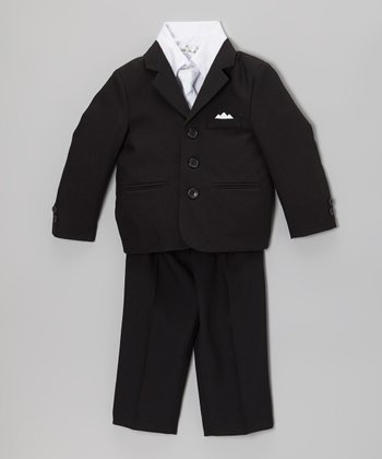 Black & White Five-Piece Suit Set - Infant, Toddler & Boys