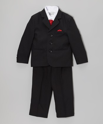 Black & Red Five-Piece Suit Set - Infant, Toddler & Boys