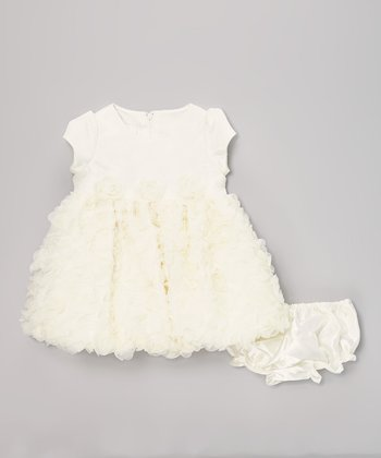 Ivory Rosette Dress & Diaper Cover - Infant