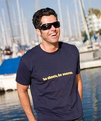 Navy Blue 'He Shoots, He Scores' Tee - Men