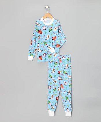 Blue Holiday Playland Pajama Set - Kids