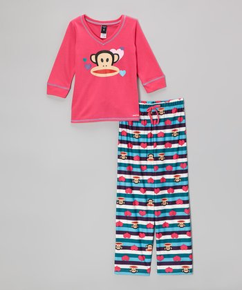 Pink & Blue Paul Frank Pajama Set - Girls