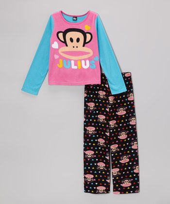 Black & Pink 'Julius' Pajama Set - Girls