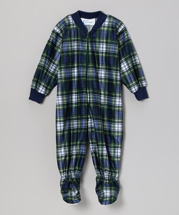 Navy Tartan Footie - Infant