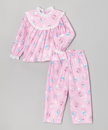 Pink Snowfriends Lace Pajama Set - Infant & Toddler