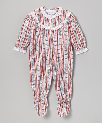 Red Tyrolean Lace Footie - Infant