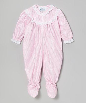 Pink Geo Lace Footie - Infant