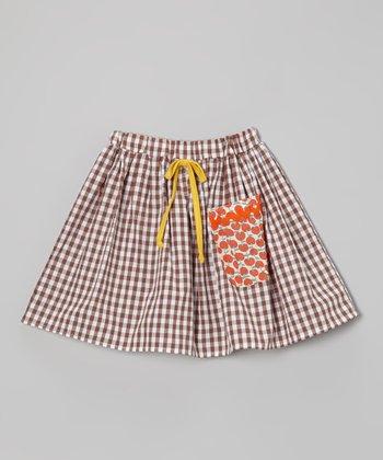 Brown Gingham Pocket Skirt - Girls