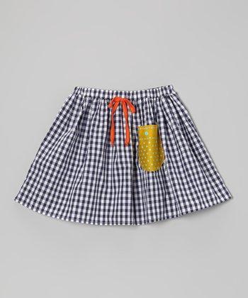 Blue Gingham Pocket Skirt - Girls