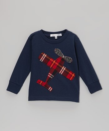 Navy Airplane Appliqué Tee - Toddler & Boys