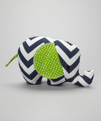 Navy Zigzag & Lime Polka Dot Elephant Plush Toy