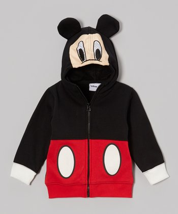 Black & Red Mickey Mask Zip-Up Hoodie - Toddler