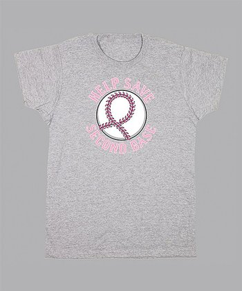 Gray 'Help Save Second Base' Tee - Women