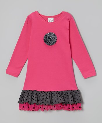 Fuchsia & Gray Polka Dot Ruffle Dress - Toddler & Girls