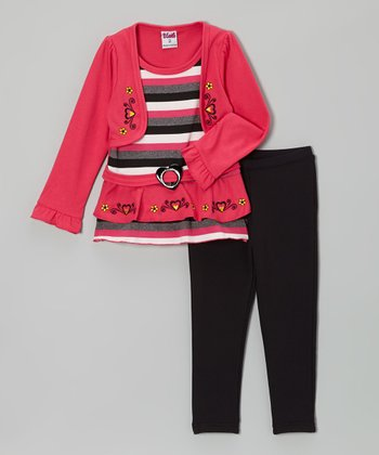 Pink Stripe Tunic & Black Leggings - Toddler & Girls