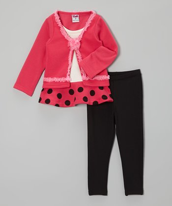 Pink Polka Dot Tunic & Black Leggings - Girls