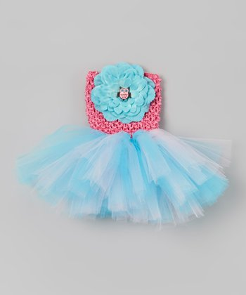 Pink & Blue Owl Tutu Dress Set - Infant, Toddler & Girls