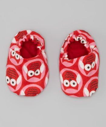 Red & Pink Owl Booties