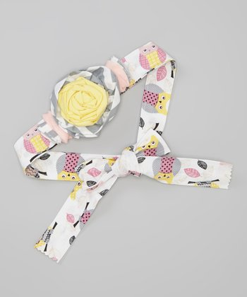 Yellow & Pink Owl Rosette Hair Sash/Belt