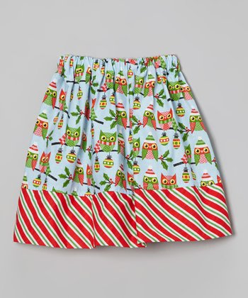 Blue & Red Owl Stripe Skirt - Infant, Toddler & Girls
