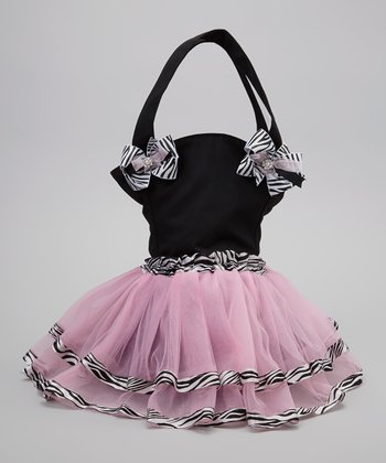 Black & Pink Zebra Tutu Bag