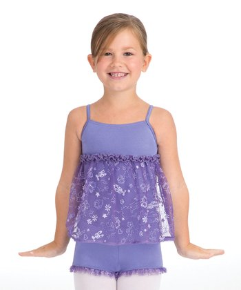 Periwinkle Skirted Biketard - Toddler & Girls